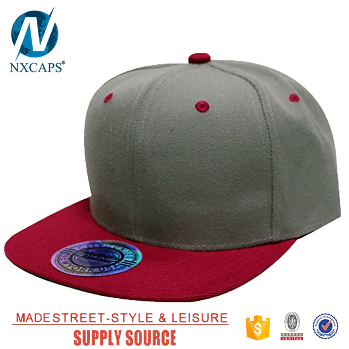 Wholesale blank flat brim snapback cap colorful 6 panel Acrylic sport hat