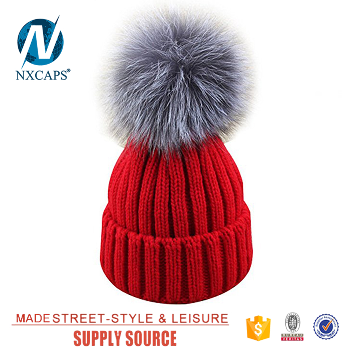 Big ball red beanie hats wholesale merino wool jacquard Beanie Hat pom pom spring knit beanies hats