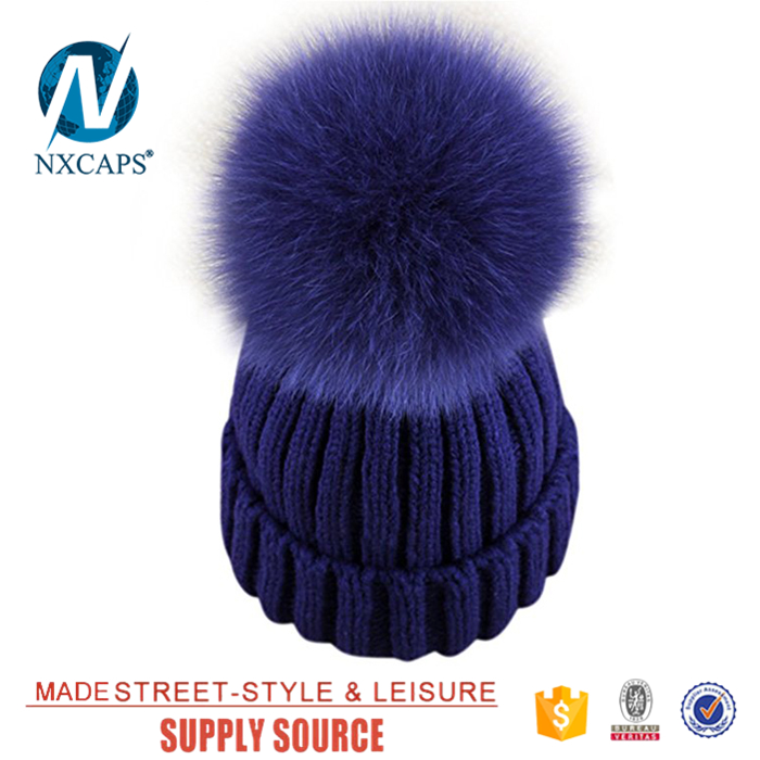 100% Acrylic beanie crochet hat custom leather label knitted women cap knitted winter hats with pom pom