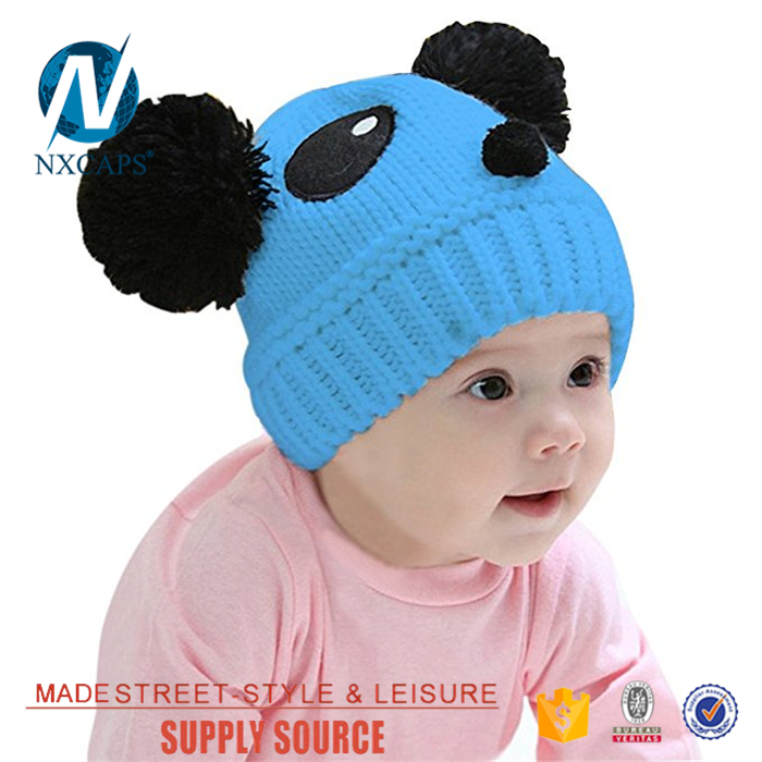 Cartoon characters beanie hat Double pom pom blue beanies acrylic hat jacquard pattern fur pom pom beanies hats custom logo slouch boys girls baby knitted cap