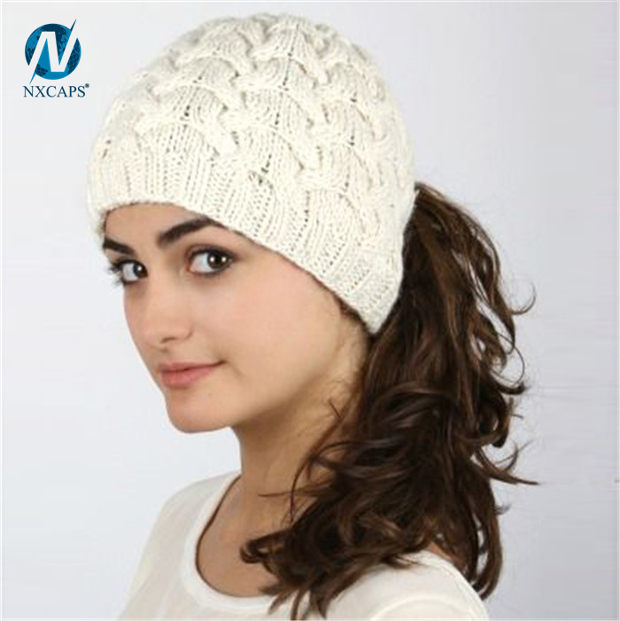 Ponytail Hat wholesale Blue Breathable handmade crochet women messy bun hat ponytail hole hat