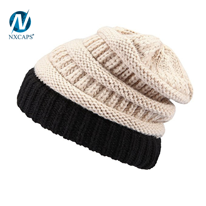 Hand knitted woolen cap spire beanie knitted slouch girl colourful Hot selling ribbed knitted hats hip hop beanie hat