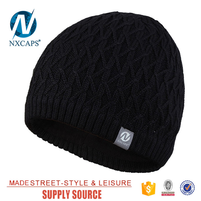 ... Personalized jacquard men beanie hat waterproof custom patterns leather  label knit hats straight needle knitting cap ... 2a3047a24cc