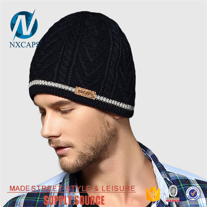 Top grade Waterproof ​beanie hat custom leather patch fleece knit hat wholesale hand knitted Jacquard ​wool caps