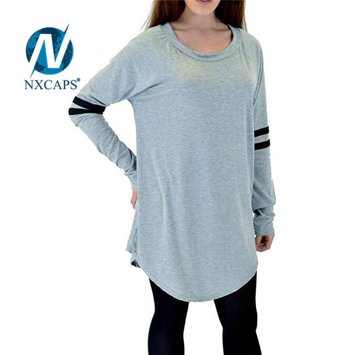 ... Womens Oversized Curved Hem Loose fit varsity football jersey Plain  Long Sleeve T shirt Dress ... 8a11ac9f27