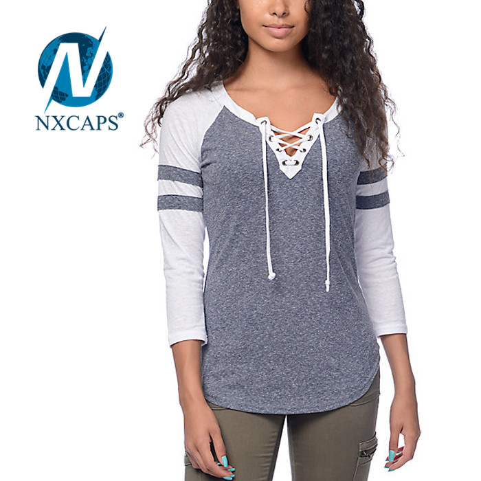 Striped high quality promotion cheap v neck 3/4 sleeve t shirt Wholesale design