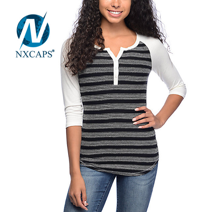 Promotion Striped spandex cheap v neck 3/4 sleeve t shirt Wholesale design long tail t shirt
