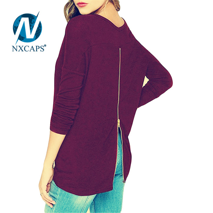 Women purple t shirt with back zip solid plain long sleeve tees Fashion t-shirt