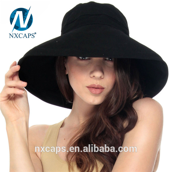 ... 100 cotton beach hat women summer hat beach hats plain black bucket hat  cap promotion ... 8795a69d04e