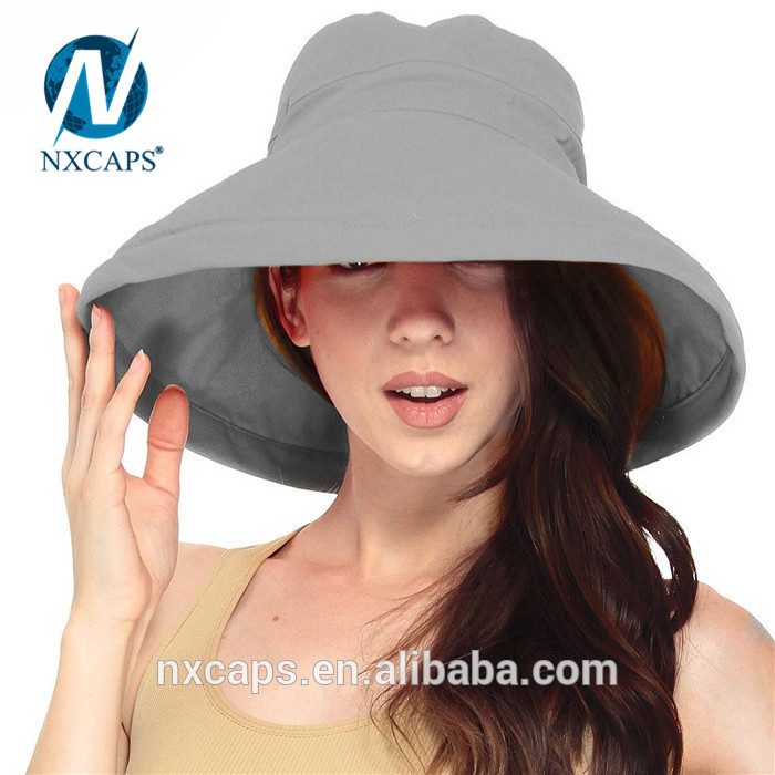 Wholesale summer sun hat beach hats women bucket hat 100% cotton hat wide fold up brim hats and caps