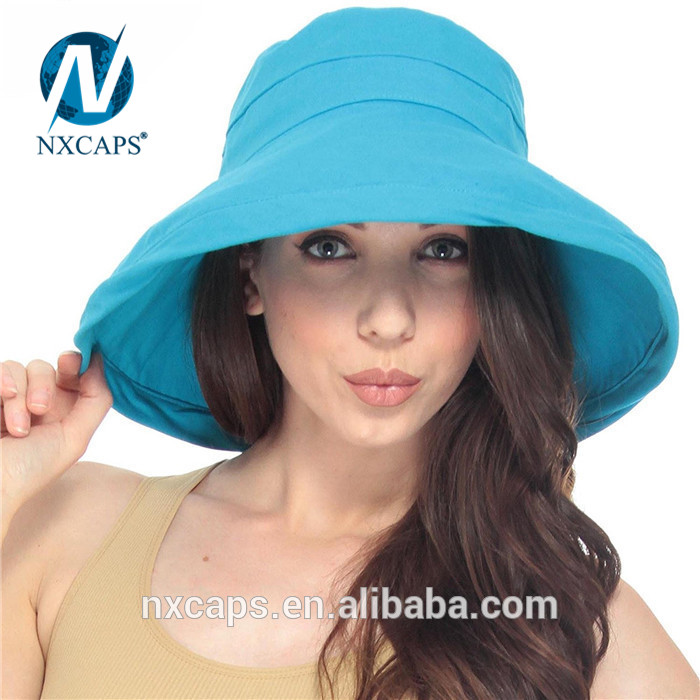 Rolled wide brim hat beach hats custom 100 cotton bucket hats cheap sun hat cap promotion
