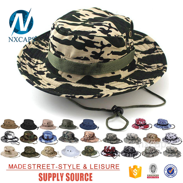 371e6e94de6 ... Custom came military boonie hat wholesale blank Travel Bucket hats  basin cap with Wide Brim Strings ...