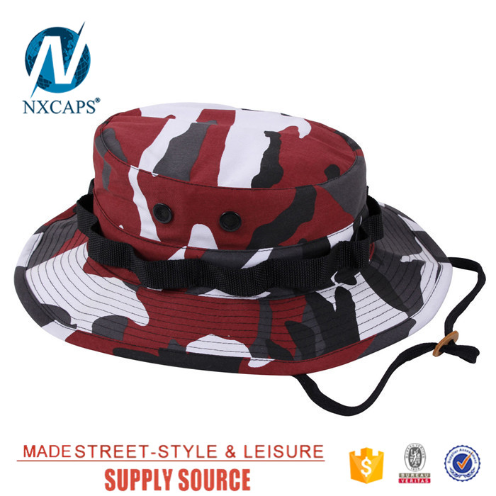 Custom came military boonie hat wholesale blank Travel Bucket hats basin cap with Wide Brim Strings Camping Hiking fisherman cap