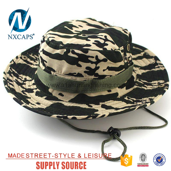 Custom came military boonie hat wholesale blank Travel Bucket hats basin cap  with Wide Brim Strings ... d9e1c221203