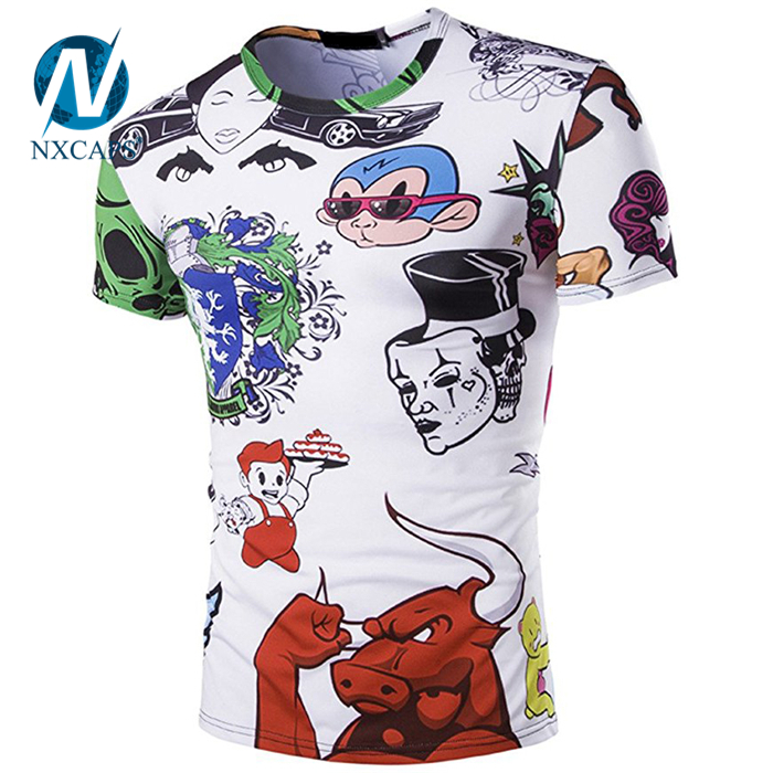 Custom digital printing t-shirt Blank Cotton T Shirt wholesale sublimation plain Summer printed tees simple design patch and pattern