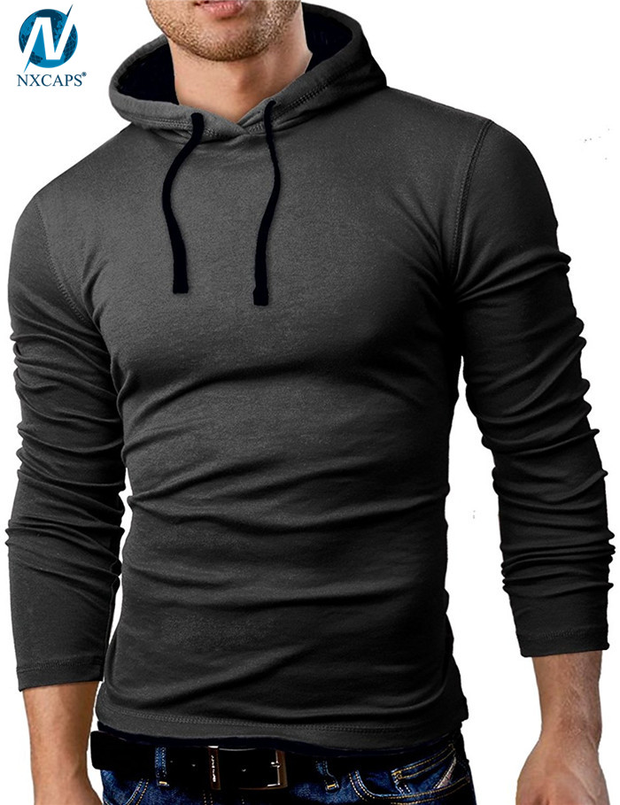 Blank solid hoodies mens fitted fashion pullover rope hoodie plain black summer hoody And Drawstring Hood