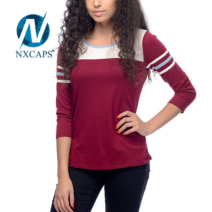 Curved hem t shirt wholesale Overseas plain simple design 3/4 sleeve tees manufacturers in China