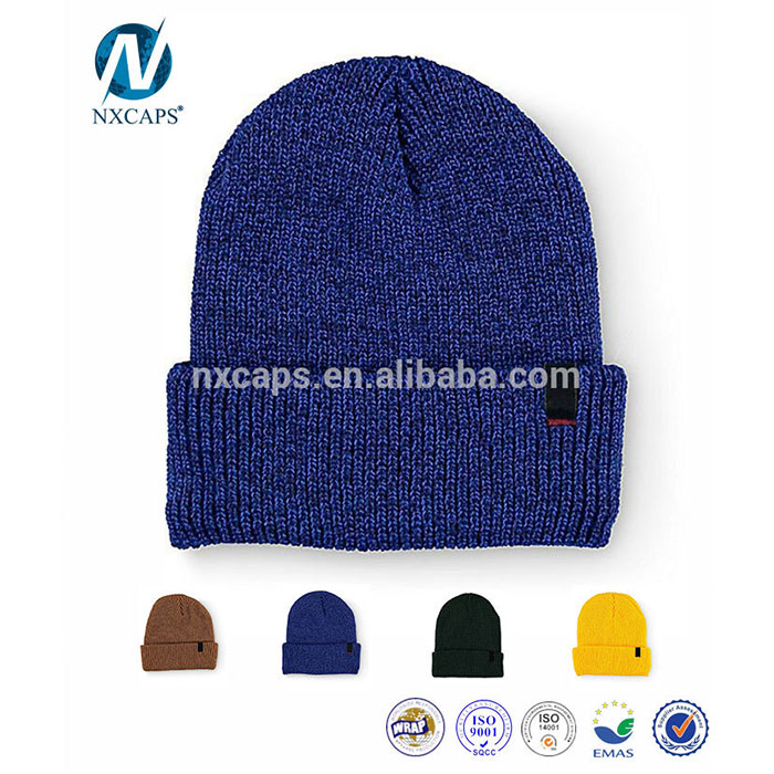 Custom Acrylic Beanies With Woven Label Mens Winter Cap Flod Beanie Hat And Cap Slouchy Gorro Invierno Knit men