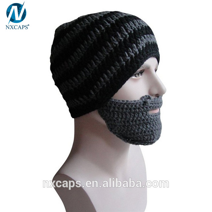 e4cfda15601 ... Fashion ski mask hat knitting pattern beanie striped knitted hat with Funny  Beard Shaped Mouth muffle ...