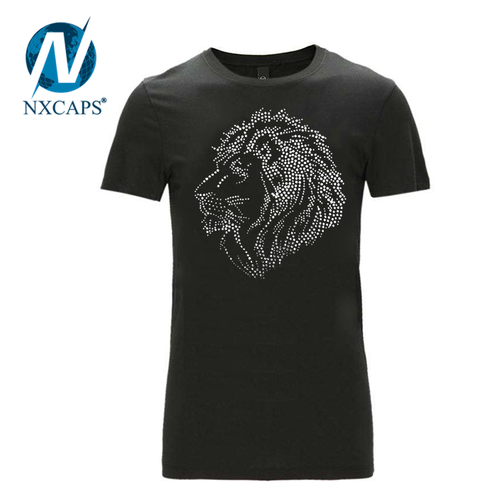 Super crystal ione and white Rhinestone hot fix lion head on bling transfer T Shirts
