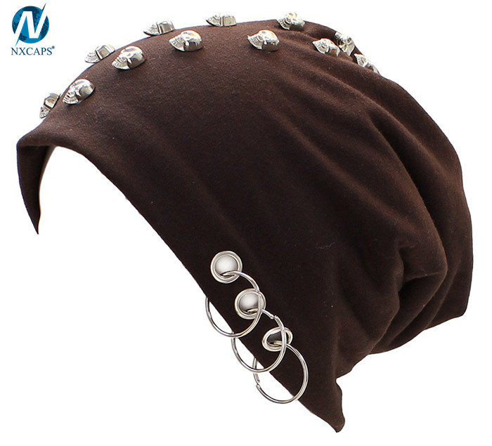 Metal ring beanie skulls cap Spiked Stud Lightweight Fleece Lined Cotton Beanie Hat wholesale