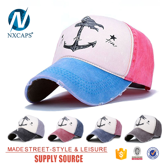 Cotton hole Distressed baseball cap 5 panel snapback hat printed anchor label plain sport hats and caps