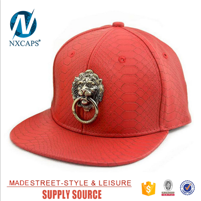 Genuine leather snapback hat black own gleaming brass knocker decorate​​ lion label baseball cap