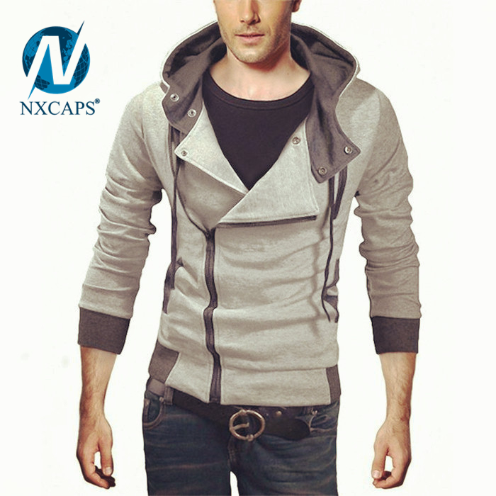 Wholesale Blue blank Hooded plain Sweatshirt Slim Fit Zip up fashion Hoodies zipper hoody