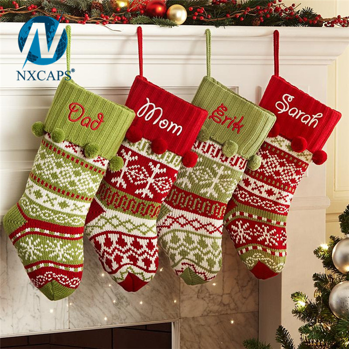 Cotton Fabric Big size stocking Christmas sock decoration party fancy items handmade gift custom
