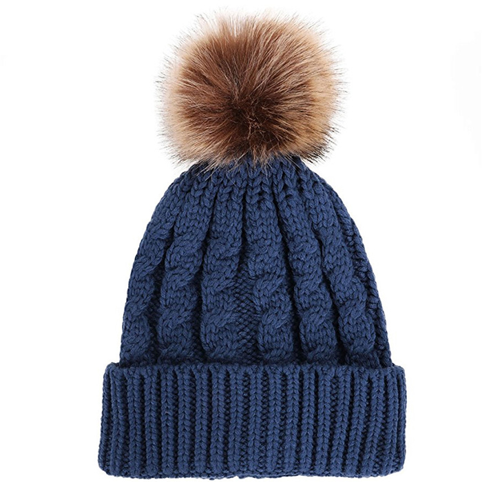 49cc32f7 Leather Patch Beanie Wholesale Mens Winter Knit Hat Jacquard Leaves ...
