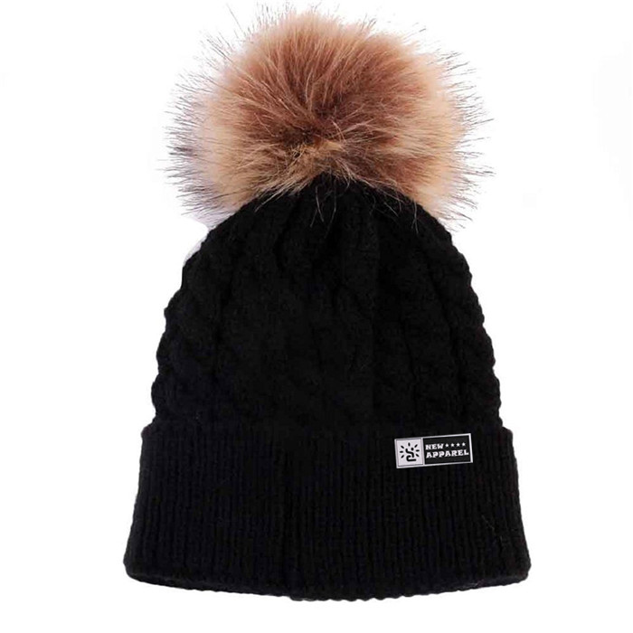 4b25f6cf36525 Plain Beanie Hat Pom With Faux Fur Ball Pom Beanie Knit Winter Hats ...