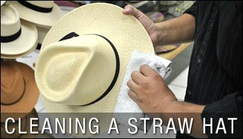 CLEANING A STRAW HAT