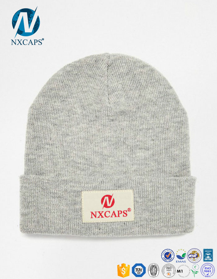 Custom knit beanies with woven label slouch beanie hat