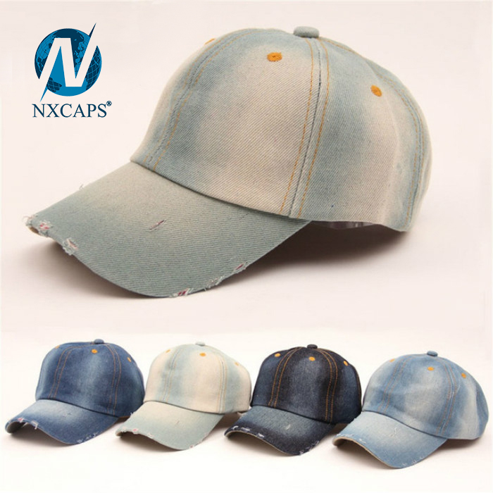 Denim stone washed baseball cap 6 panel curve brim long bill sports hat