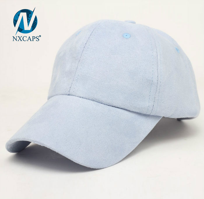 Suede baseball cap plain 6 panel curve brim long bill sports hat