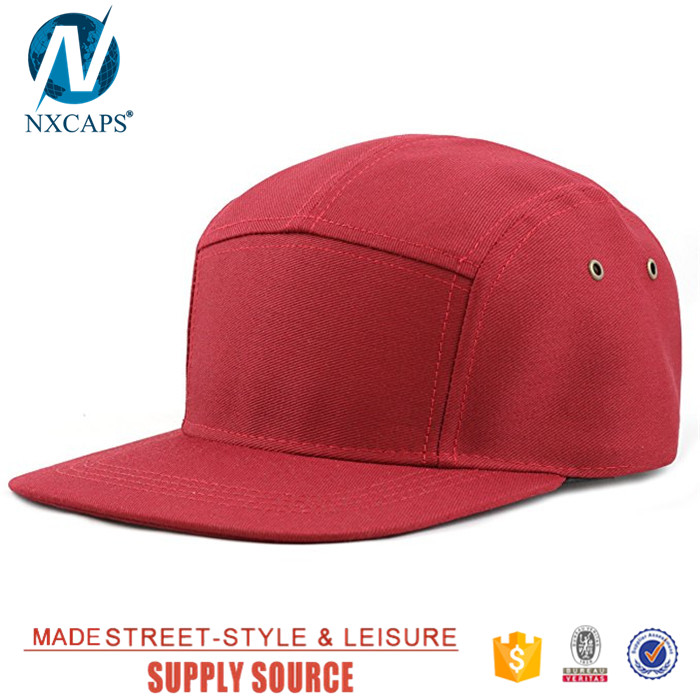 0e297ab5618 ... Flat brim biker cap custom 5 panel hat blank baseball snapback hat with  leather strap ...