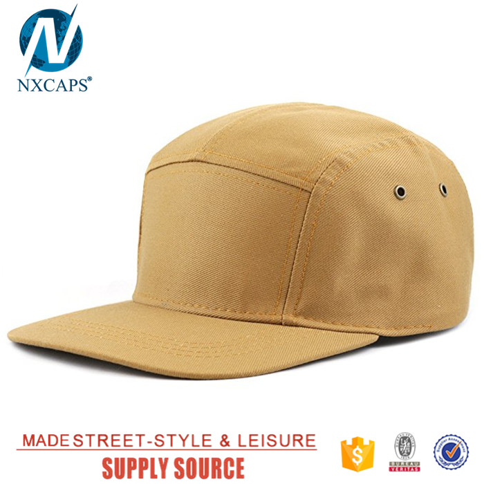 Flat brim biker cap custom 5 panel hat blank baseball snapback hat with leather strap