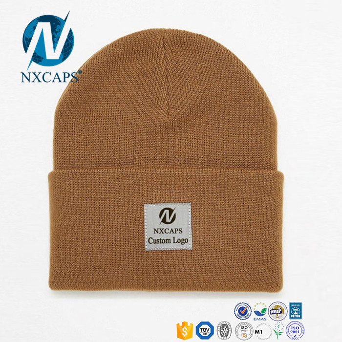 Acrylic Custom Patch Beanie winter knitted hat cuff mens beanie hat wholesale