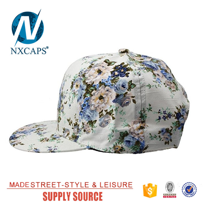 All over digital print floral snapback hat fashion women hip hop cap