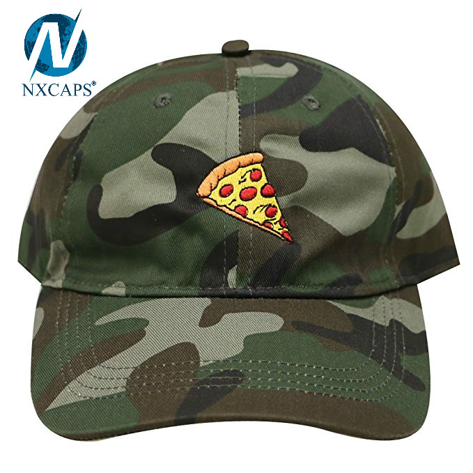 Custom pizza embroidery dad hat 6 panel unstructured baseball cap