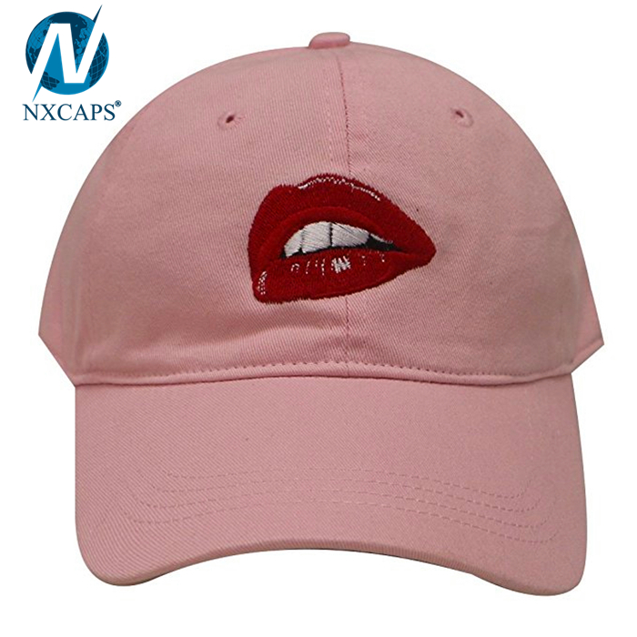 Pink girls 6 panel dad hat custom embroidery baseball cap 6 panel sun visor cap