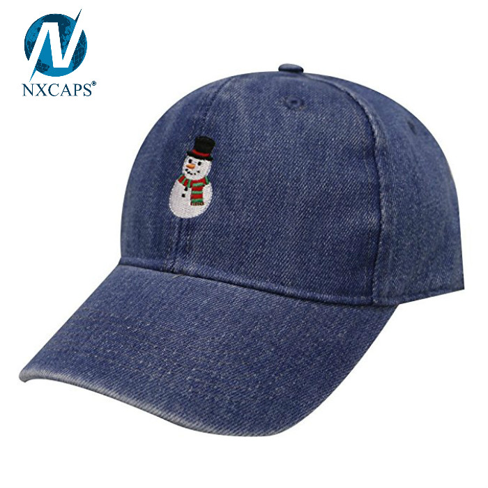 Custom embroidery denim dad hat plain baseball cap 6 panel hat wholesale