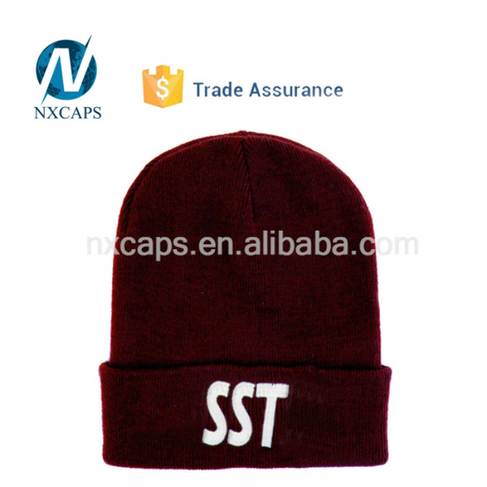 Custom acrylic beanies Embroidery SST cuff ski knitted winter hat unisex outdoor beanie with no ball