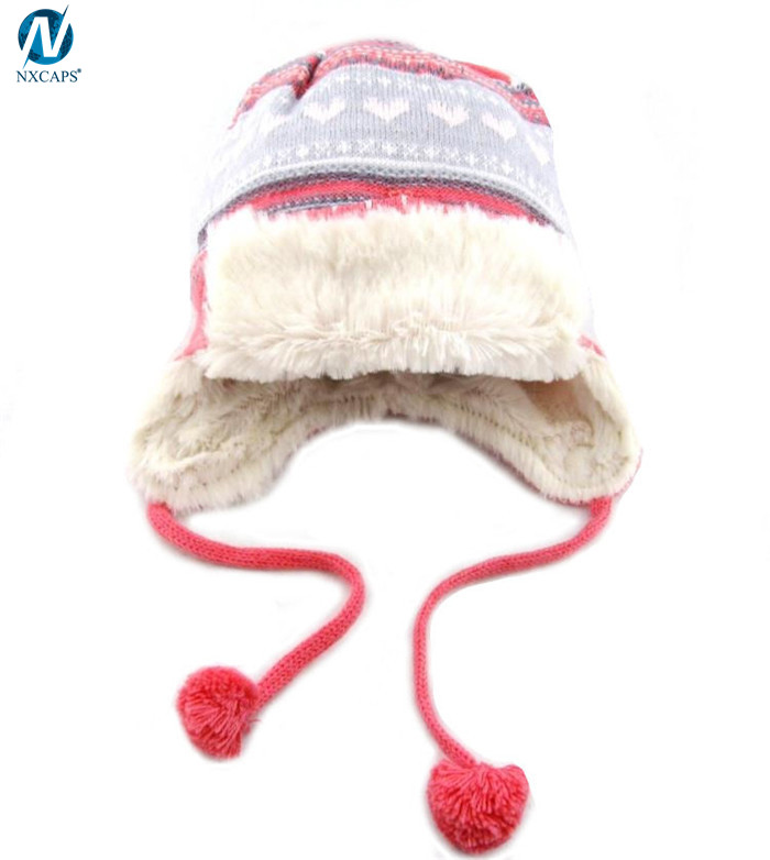 Girls beanie with string hat earflap winter cap ski hat beanies