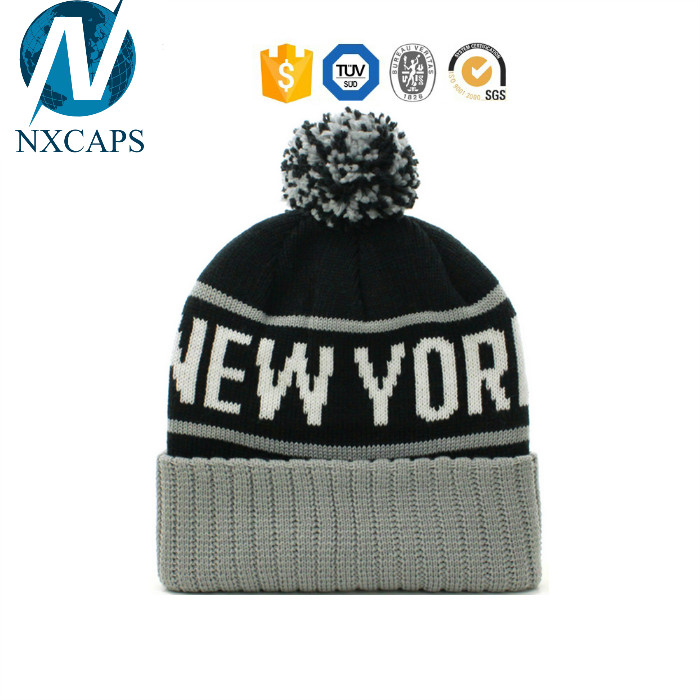 Ball beanie hat girls fashion free slouch knitted hats womens ski soft winter jacquard cap and custom logo