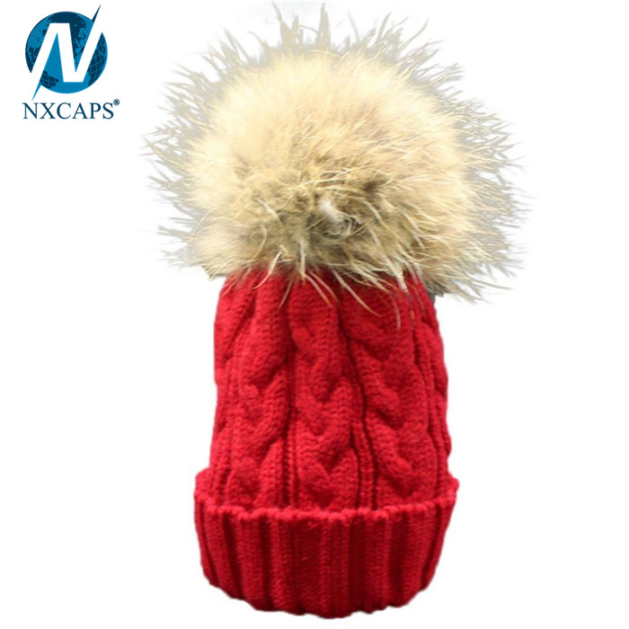 Solid color kids hat with fur pom pom baby hat winter beanie hats