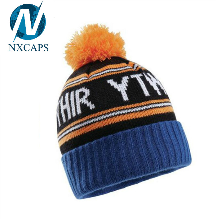 Wholesale plain beanie caps rasta stripe hat custom cotton beanie hats pom pom winter sports hat