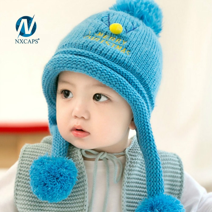 Baby winter hats boys Custom logo kids beanie winter cap with three ball pom pom knitted beanie hat wholesale baby beanie hats