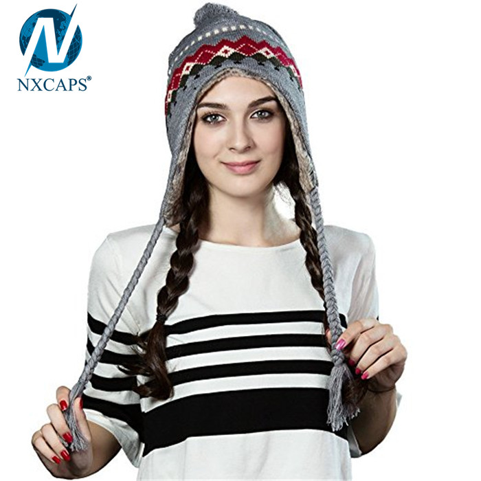 Girls jacquard beanie with strings winter hats pompom hat