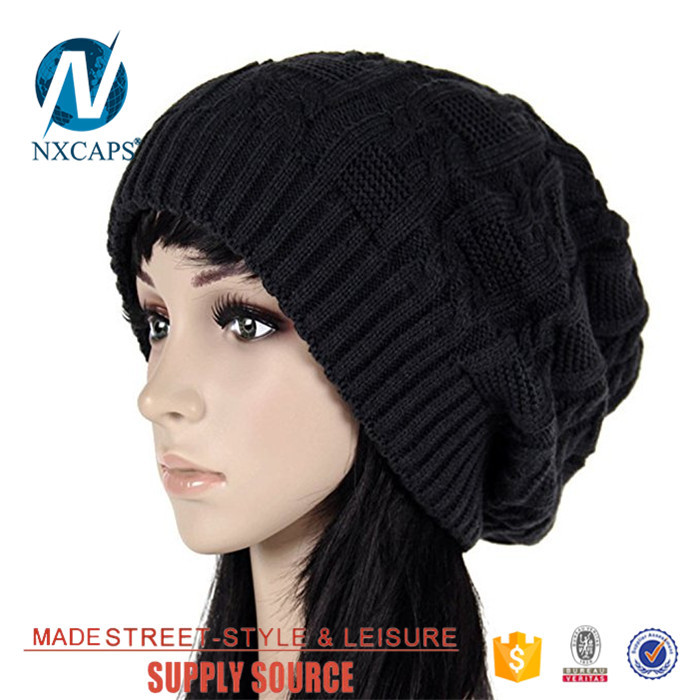 Custom Logo Beanies Hats Straight Needle Knit Hat Patterns Slouch